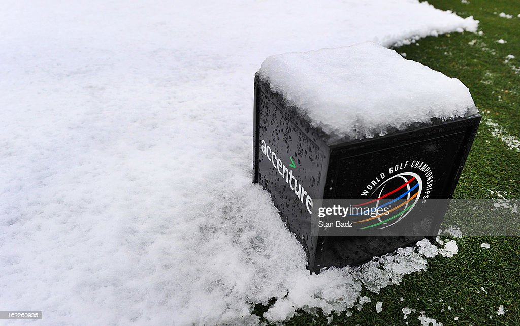 A tee box marker is coverd with snow on the 15th hole before the restart of the first round of the World Golf Championships-Accenture Match Play Championship at The Golf Club at Dove Mountain on February 21, 2013 in Marana, Arizona.