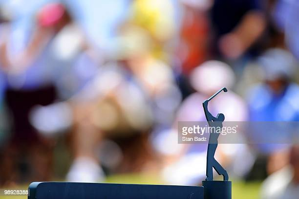 A tee box marker located on the 18th hole during the third round of THE PLAYERS Championship on THE PLAYERS Stadium Course at TPC Sawgrass on May 8...