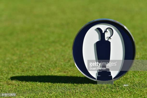 A tee marker depicting the claret jug is seen during the first round of the 146th Open Championship at Royal Birkdale on July 20 2017 in Southport...