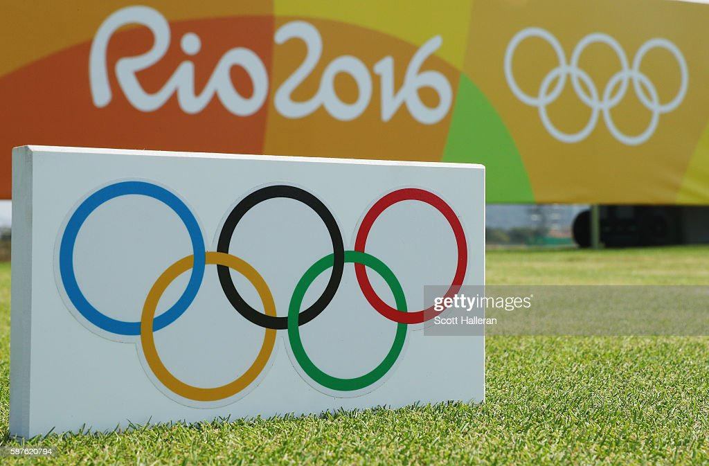 A tee marker is seen during a practice round on Day 4 of the Rio 2016 Olympic Games at Olympic Golf Course on August 9, 2016 in Rio de Janeiro, Brazil.