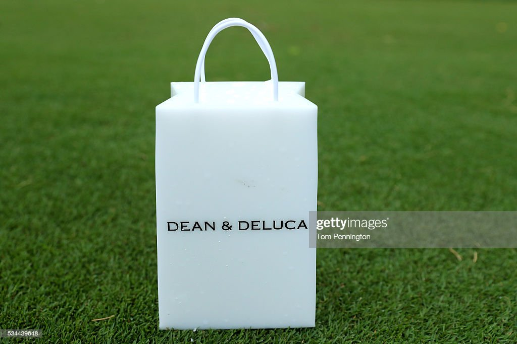 A DEAN & DELUCA tee marker is seen on the eighth hole during the First Round of the DEAN & DELUCA Invitational at Colonial Country Club on May 26, 2016 in Fort Worth, Texas.