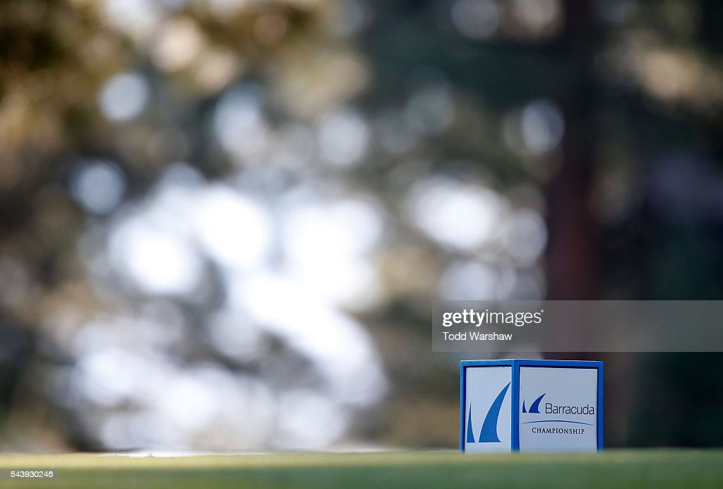 A tee marker is seen on the third tee during the first round of the Barracuda Championship at the Montreux Golf and Country Club on June 30, 2016 in Reno, Nevada.