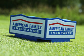 A tee marker on the fourth hole during the second round of the Champions Tour American Family Insurance Championship at University Ridge Golf Course...