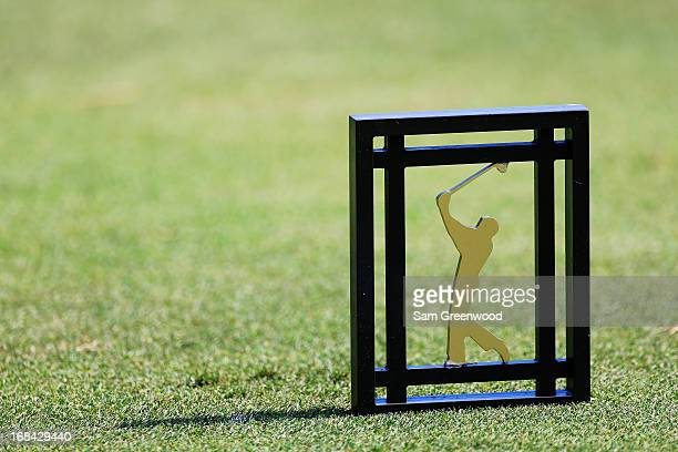 A tee marker rests on the 16th tee box during round one of THE PLAYERS Championship at THE PLAYERS Stadium course at TPC Sawgrass on May 9 2013 in...