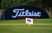 PGA tee markers with Titleist banner during the Women's PGA Championship at Frilford Heath Golf Club on July 19 2016 in Abingdon England