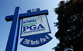 A tee sign is seen at the tenth hole prior to the start of the KPMG Women's PGA Championship on the West Course at the Westchester Country Club on...