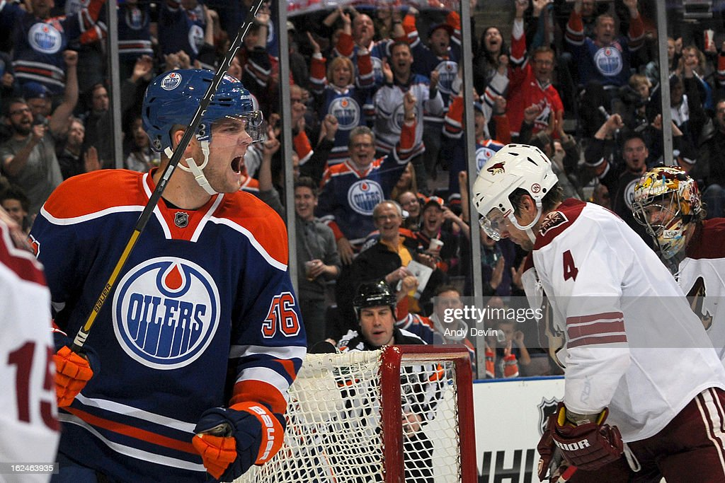 Teemu Hartikainen #56 of the Edmonton Oilers celebrates after scoring in a game against the Phoenix Coyotes on February 23, 2013 at Rexall Place in Edmonton, Alberta, Canada.