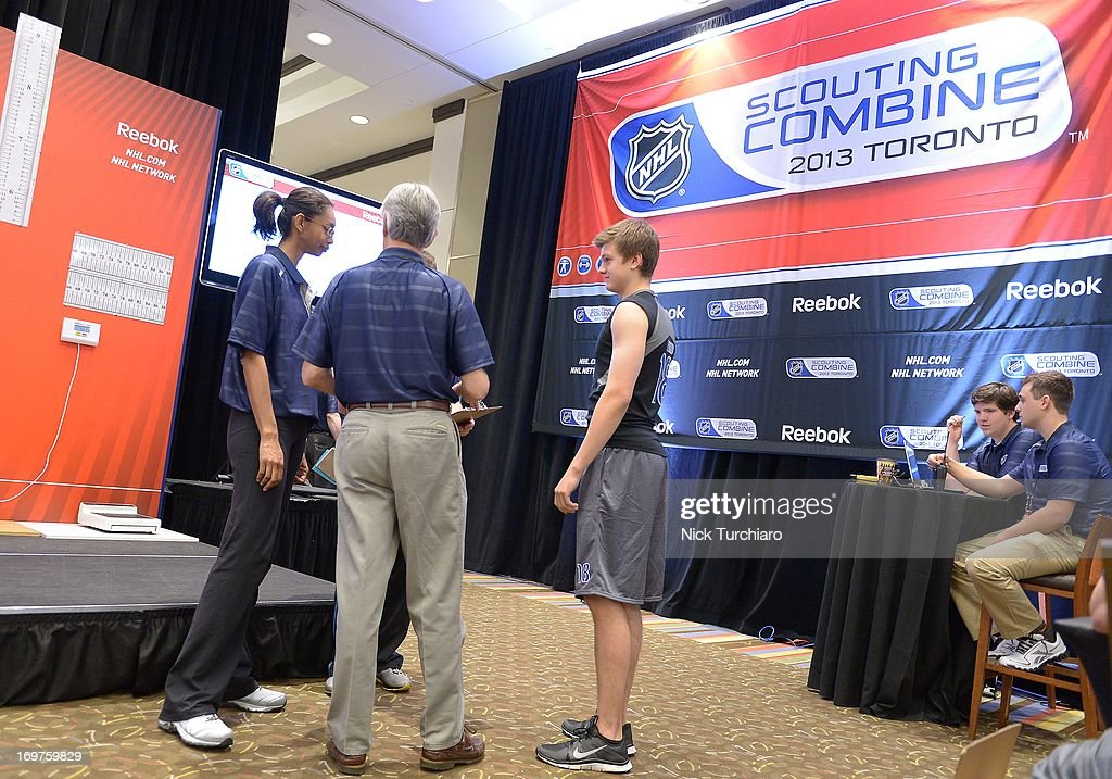 Teemu Kivihalme #18 takes part in the 2013 NHL Combine June 1, 2013 at the International Centre in Toronto, Ontario, Canada.