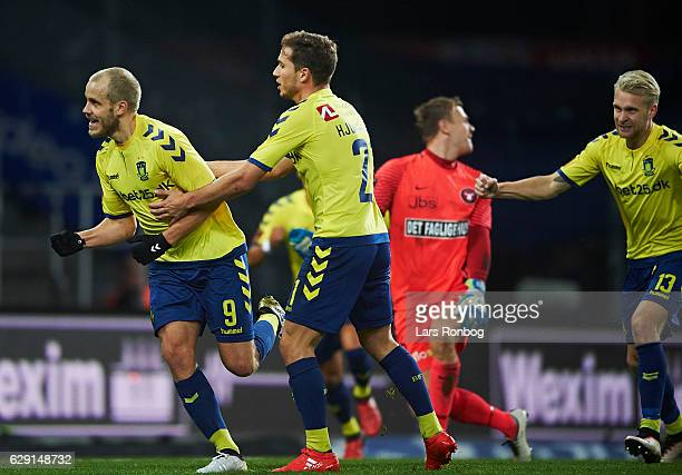 Teemu Pukki and Andrew Hjulsager of Brondby IF celebrate after scoring their first goal during the Danish Alka Superliga match between Brondby IF and...