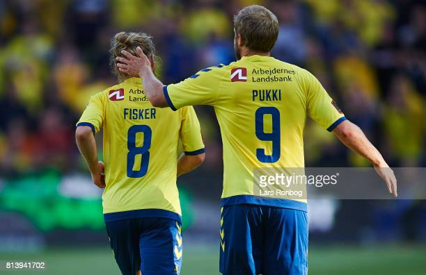 Teemu Pukki and Kasper Fisker of Brondby IF celebrate after scoring their second goal during the UEFA Europa League Qualification match between...