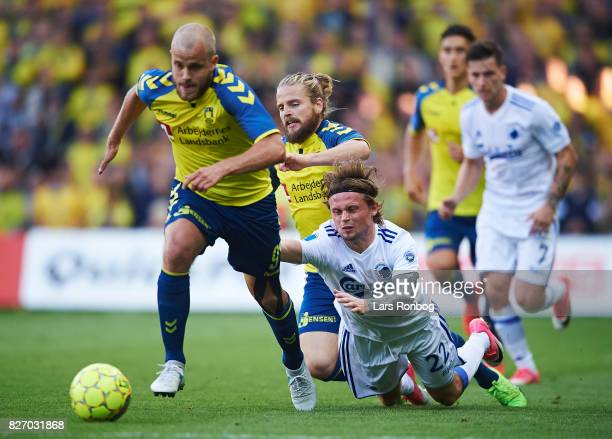Teemu Pukki of Brondby IF and Peter Ankersen of FC Copenhagen compete for the ball during the Danish Alka Superliga match between Brondby IF and FC...
