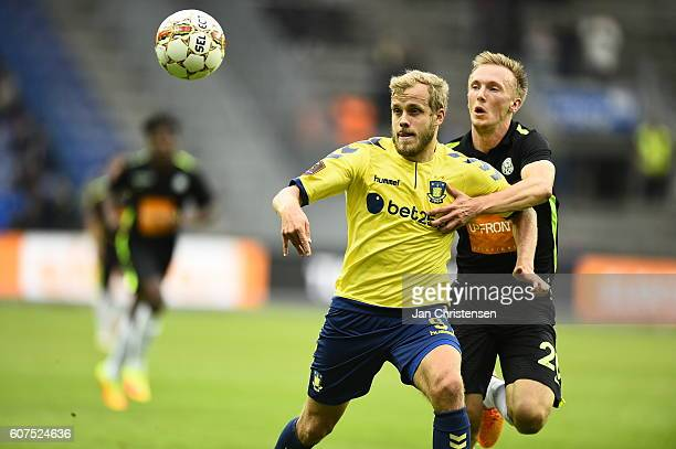 Teemu Pukki of Brondby IF and Soren Reese of Viborg FF compete for the ball during the Danish Alka Superliga match between Brondby IF and Viborg FF...