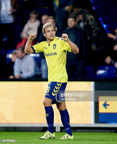 Teemu Pukki of Brondby IF celebrates after scoring their first goal during the Danish Alka Superliga match between Brondby IF and Esbjerg fB at...