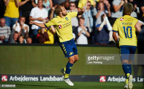 Teemu Pukki of Brondby IF celebrates after scoring their first goal during the UEFA Europa League Qualification match between Brondby IF and VPS...