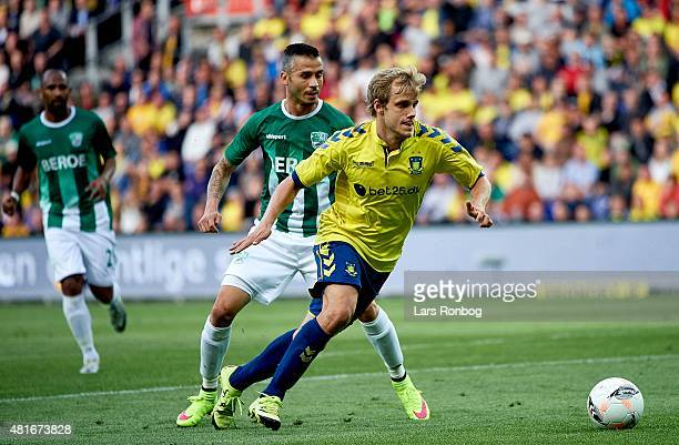 Teemu Pukki of Brondby IF controls the ball during the UEFA Europa League Qualification match between Brondby IF and PFC Beroe Stara Zagora at...