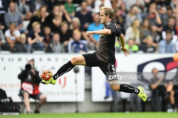 Teemu Pukki of Brondby IF in action during the Danish Alka Superliga match between Viborg FF and Brondby IF at Energi Viborg Arena on August 16 2015...