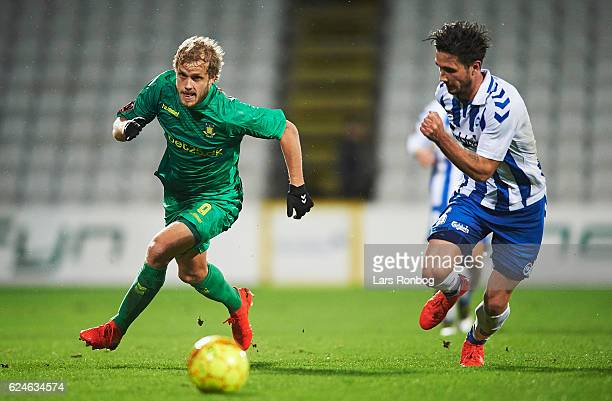 Teemu Pukki of Brondby IF in action during the Danish Alka Superliga match between OB Odense and Brondby IF at EWII Park on November 20 2016 in...