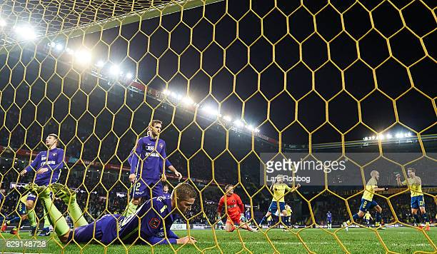 Teemu Pukki of Brondby IF scores the 10 goal against Goalkeeper Johan Dahlin of FC Midtjylland during the Danish Alka Superliga match between Brondby...