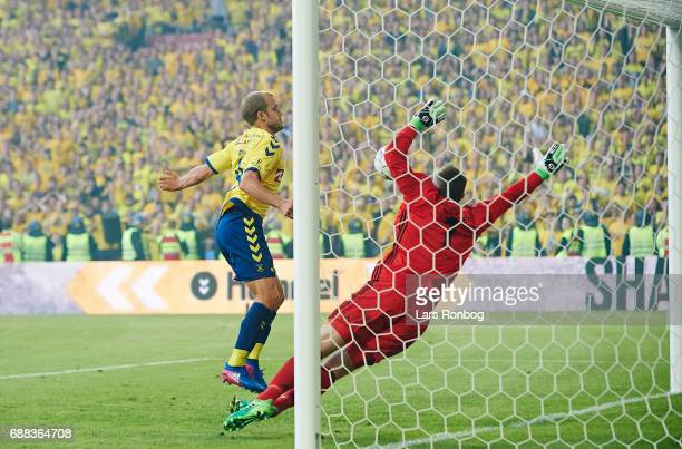 Teemu Pukki of Brondby IF scores the 11 goal against Goalkeeper Stephan Andersen of FC Copenhagen during the Danish Cup Final DBU Pokalen match...