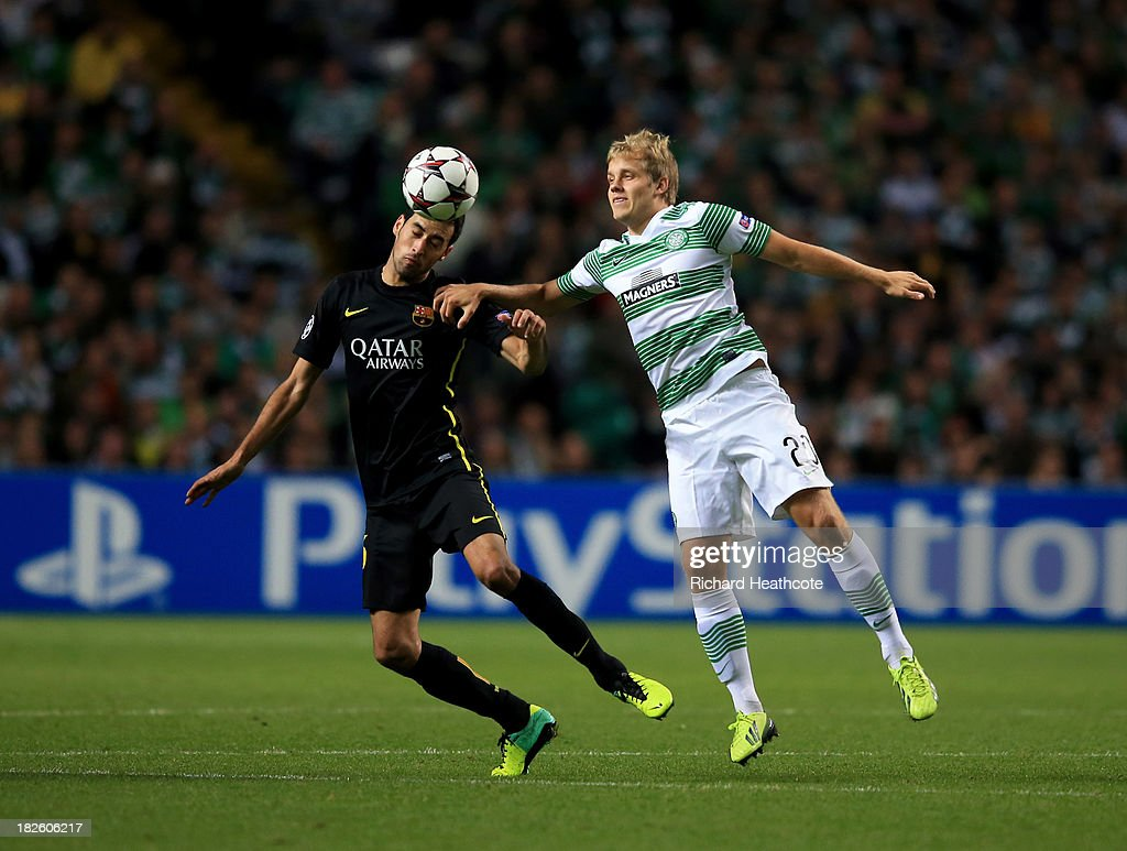 <a gi-track='captionPersonalityLinkClicked' href=/galleries/search?phrase=Teemu+Pukki&family=editorial&specificpeople=8055578 ng-click='$event.stopPropagation()'>Teemu Pukki</a> of Celtic battles with <a gi-track='captionPersonalityLinkClicked' href=/galleries/search?phrase=Sergio+Busquets&family=editorial&specificpeople=5477015 ng-click='$event.stopPropagation()'>Sergio Busquets</a> of Barcelona during the UEFA Champions League Group H match between Celtic and FC Barcelona at Celtic Park Stadium on October 1, 2013 in Glasgow, Scotland.