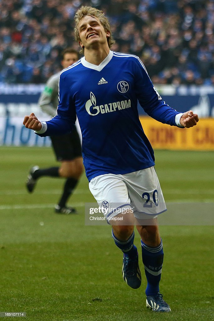 Teemu Pukki of Schalke celebrates the third goal during the Bundesliga match between FC Schalke 04 and TSG 1899 Hoffenheim at Veltins-Arena on March 30, 2013 in Gelsenkirchen, Germany.