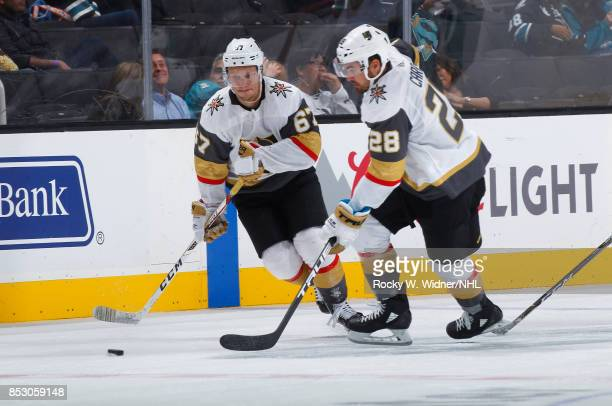 09a285bc8 ... Mens Stitched NFL Elite Jersey Teemu Pulkkinen and William Carrier of  the Vegas Golden Knights skate against the San Jose Sharks ...