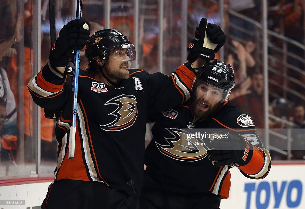 Teemu Selanne #8 and Patrick Maroon #62 of the Anaheim Ducks celebrate Selanne's third period goal against the Los Angeles Kings in Game One of the Second Round of the 2014 NHL Stanley Cup Playoffs at Honda Center on May 3, 2014 in Anaheim, California.