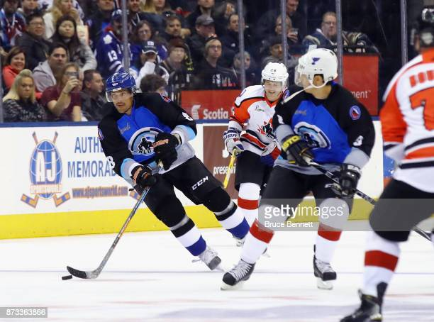 Teemu Selanne and Paul Kariya skate in the Legends Classic game at the Air Canada Centre on November 12 2017 in Toronto Canada Both players are set...