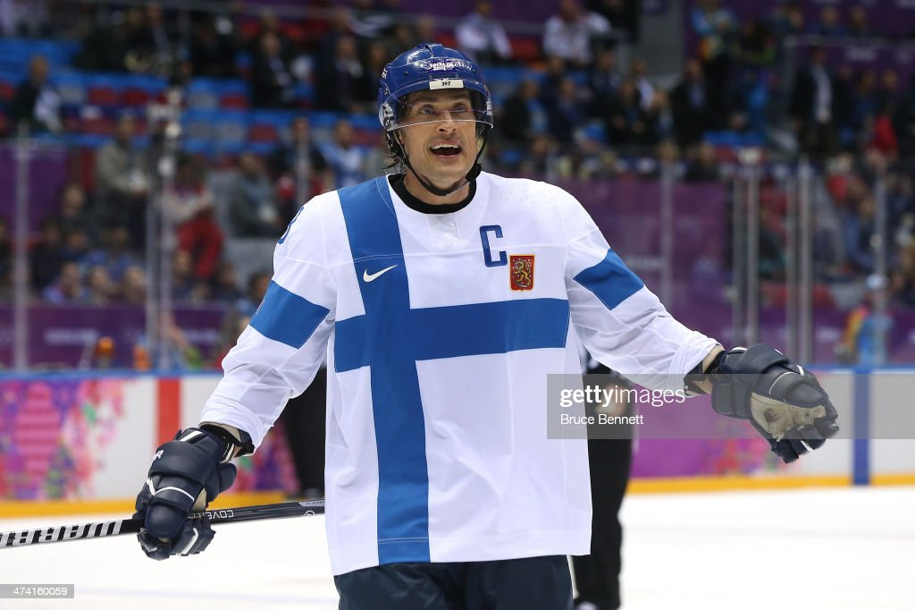 Teemu Selanne #8 of Finland argues after a call in the second period against the United States during the Men's Ice Hockey Bronze Medal Game on Day 15 of the 2014 Sochi Winter Olympics at Bolshoy Ice Dome on February 22, 2014 in Sochi, Russia.