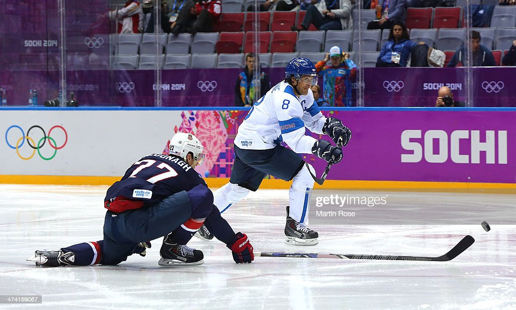 Teemu Selanne #8 of Finland shoots and scores against Ryan McDonagh #27 of the United States in the second period during the Men's Ice Hockey Bronze Medal Game on Day 15 of the 2014 Sochi Winter Olympics at Bolshoy Ice Dome on February 22, 2014 in Sochi, Russia.