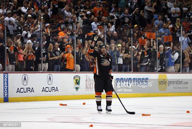 Teemu Selanne of the Anaheim Ducks acknowledges the fans following his final NHL game in Game Seven of the Second Round of the 2014 NHL Stanley Cup...