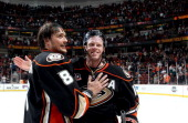 Teemu Selanne of the Anaheim Ducks and Saku Koivu celebrated Selanne's last regular season game in the NHLagainst the Colorado Avalanche on April 13...