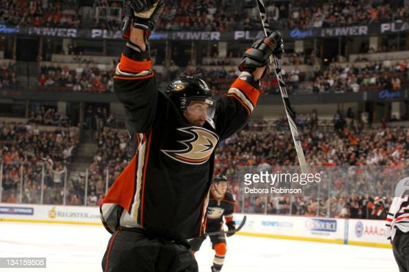 Teemu Selanne of the Anaheim Ducks celebrates a goal during a game against the Chicago Blackhawks at Honda Center on November 25 2011 in Anaheim...