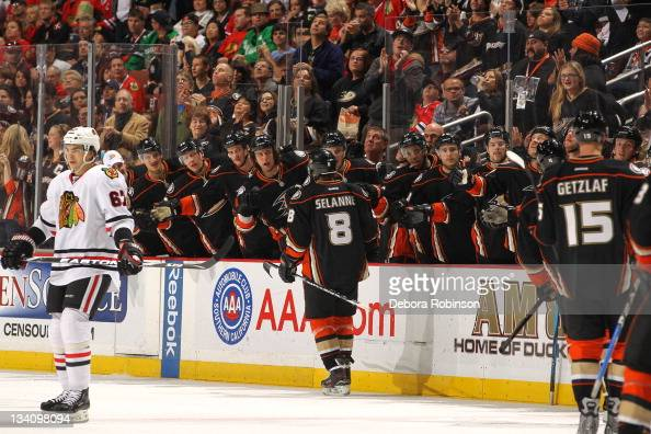 Teemu Selanne of the Anaheim Ducks celebrates a goal with his teammates on the bench during their game against the Chicago Blackhawks at Honda Center...
