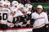 Teemu Selanne of the Anaheim Ducks celebrates his 601st goal during their game against the Colorado Avalanche at the Pepsi Center on March 31 2010 in...