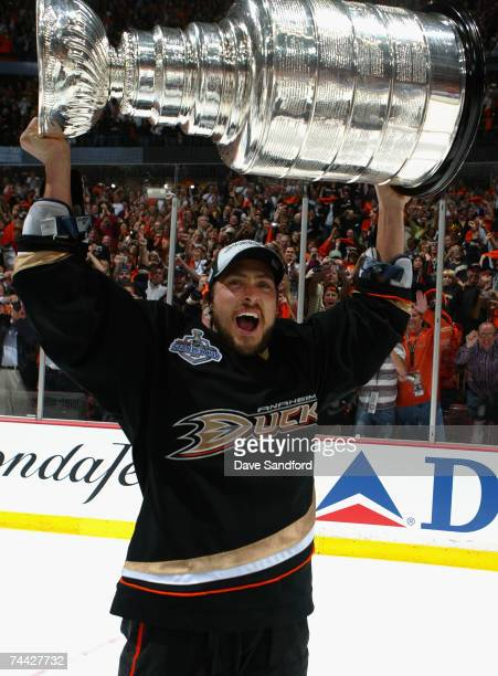 Teemu Selanne of the Anaheim Ducks celebrates lifting the Stanley Cup after defeating the Ottawa Senators in Game Five of the 2007 Stanley Cup finals...