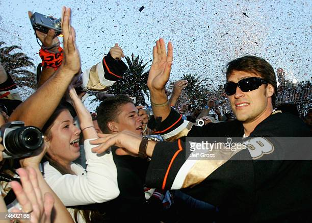 Teemu Selanne of the Anaheim Ducks celebrates winning the 2007 Stanley Cup during the 'Anaheim Ducks Stanley Cup Victory Celebration' June 9 2007 at...