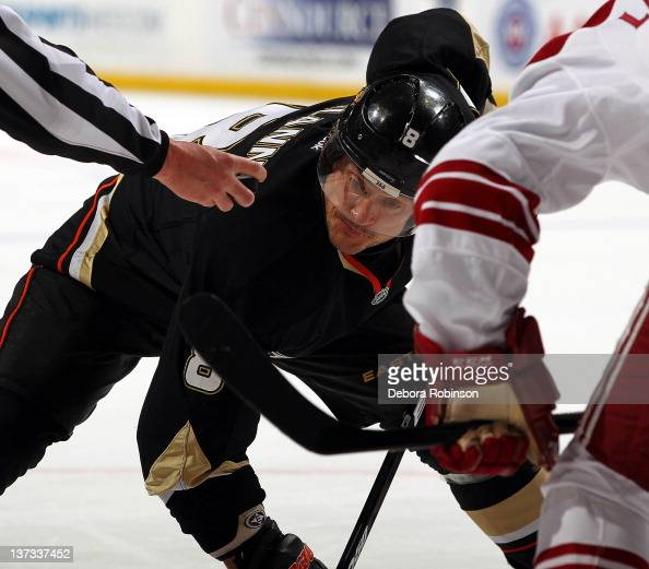 Teemu Selanne of the Anaheim Ducks faces off against Daymond Langkow of the Phoenix Coyotes during the game on January 18 2012 at Honda Center in...