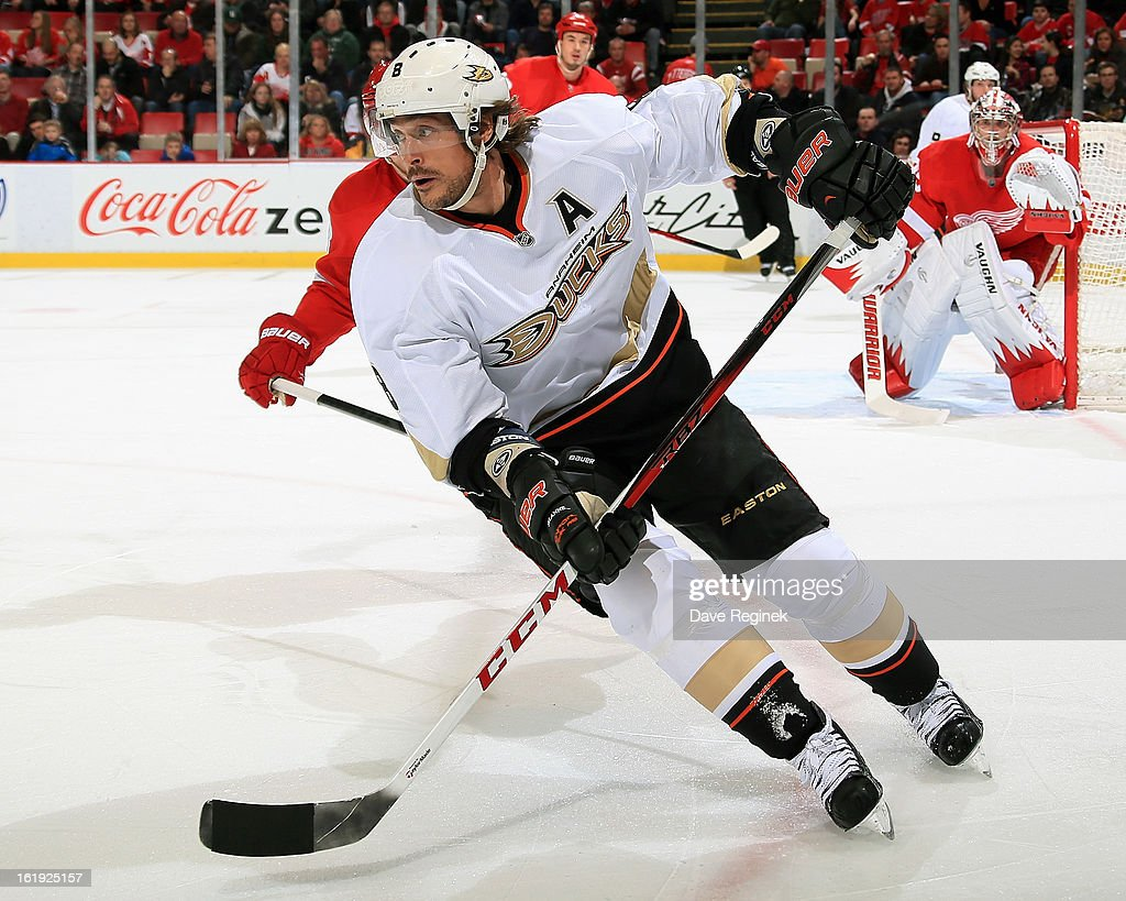Teemu Selanne #8 of the Anaheim Ducks follows the play during a NHL game against the Detroit Red Wings on February 15, 2013 at Joe Louis Arena in Detroit, Michigan. Anaheim defeated Detroit 5-2