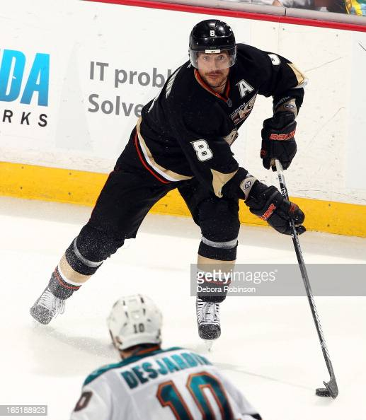 Teemu Selanne of the Anaheim Ducks handles the puck during the game against the San Jose Sharks on March 25 2013 at Honda Center in Anaheim California