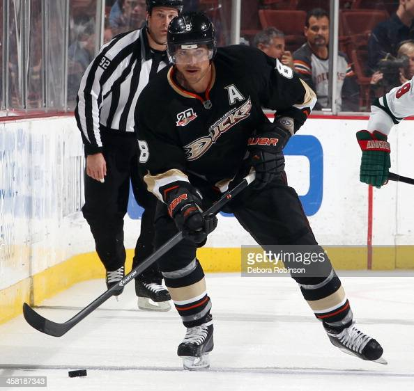 Teemu Selanne of the Anaheim Ducks handles the puck during the game against the Minnesota Wild on December 11 2013 at Honda Center in Anaheim...