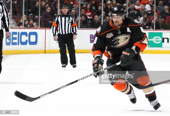 Teemu Selanne of the Anaheim Ducks handles the puck during the game against the Detroit Red Wings on January 12 2014 at Honda Center in Anaheim...