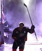 Teemu Selanne of the Anaheim Ducks is introduced before facing the New York Rangers at Honda Center on October 10 2013 in Anaheim California