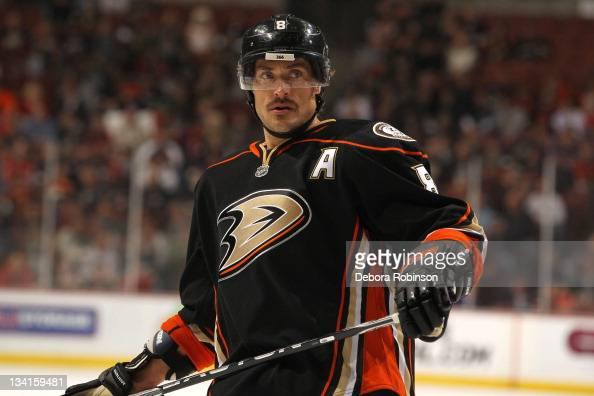 Teemu Selanne of the Anaheim Ducks looks on during a game against the Chicago Blackhawks at Honda Center on November 25 2011 in Anaheim California...