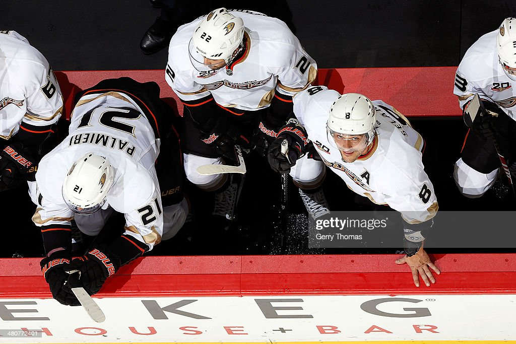 Teemu Selanne #8 of the Anaheim Ducks looks up at the scoreboard during a stoppage in play against the Calgary Flames at Scotiabank Saddledome on March 26, 2014 in Calgary, Alberta, Canada.