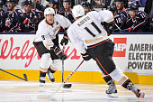 Teemu Selanne of the Anaheim Ducks passes to teammate Saku Koivu of the Anaheim Ducks against the Columbus Blue Jackets on March 31 2013 at...