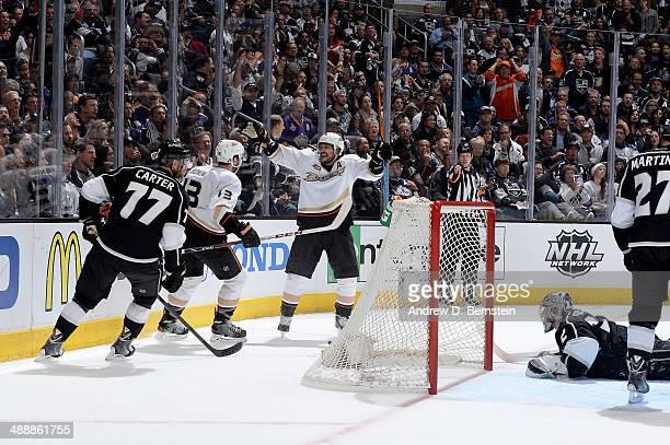 Teemu Selanne of the Anaheim Ducks reacts after scoring a goal against the Los Angeles Kings in Game Three of the Second Round of the 2014 Stanley...