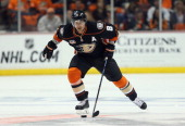 Teemu Selanne of the Anaheim Ducks skates against the Dallas Stars in Game One of the First Round of the 2014 NHL Stanley Cup Playoffs at Honda...