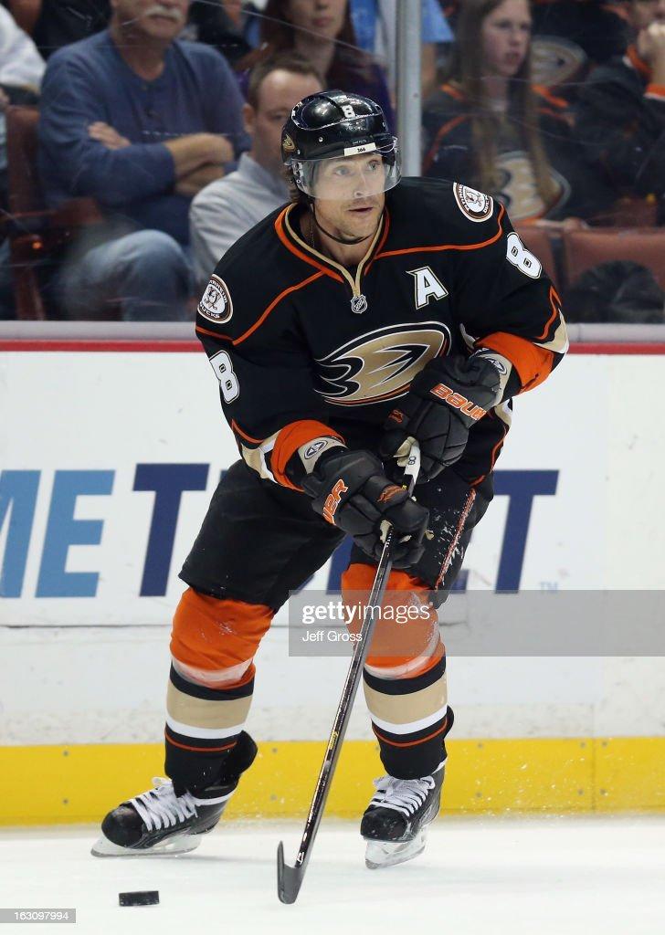 Teemu Selanne #8 of the Anaheim Ducks skates against the Minnesota Wild at Honda Center on March 1, 2013 in Anaheim, California.