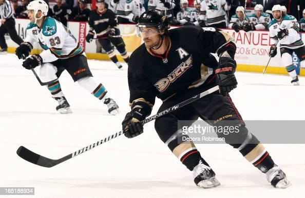 Teemu Selanne of the Anaheim Ducks skates during the game against the San Jose Sharks on March 25 2013 at Honda Center in Anaheim California